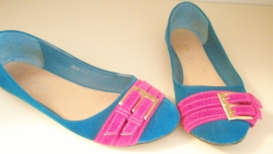 Pink and Teal Shoes