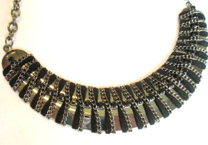 Black Diamante and Velvet Strip Statement Necklace