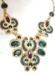 Teal and Plum Jewel Statement Necklace