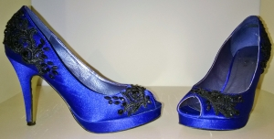 Blue shoes with black lace