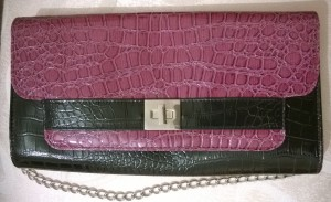 Dunnes Mock Crock Plum and Black Envalope Clutch