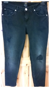 Distressed Black River Island Jeans