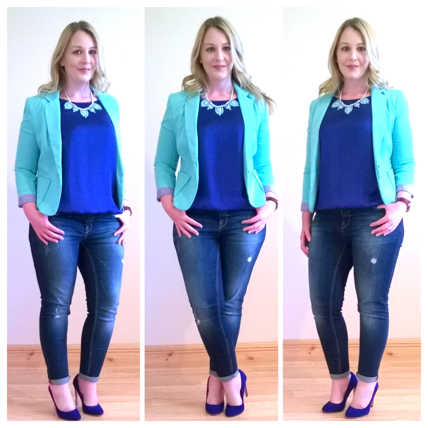 friday style cobalt blue and mint green  ah sure tis lovely