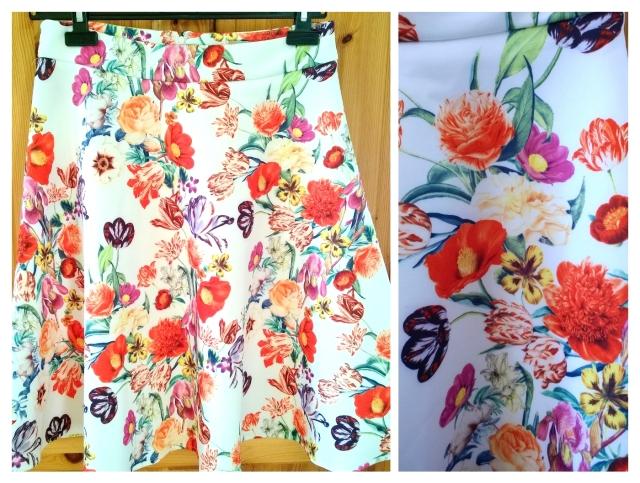 ASOS Floral Scuba Midi Skirt