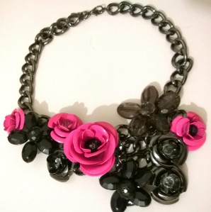 Vero Moda Black and Pink Necklace