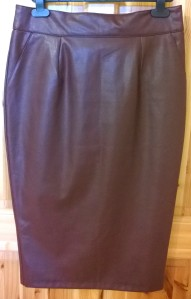 River Island Burgundy Faux Leather Pencil Skirt