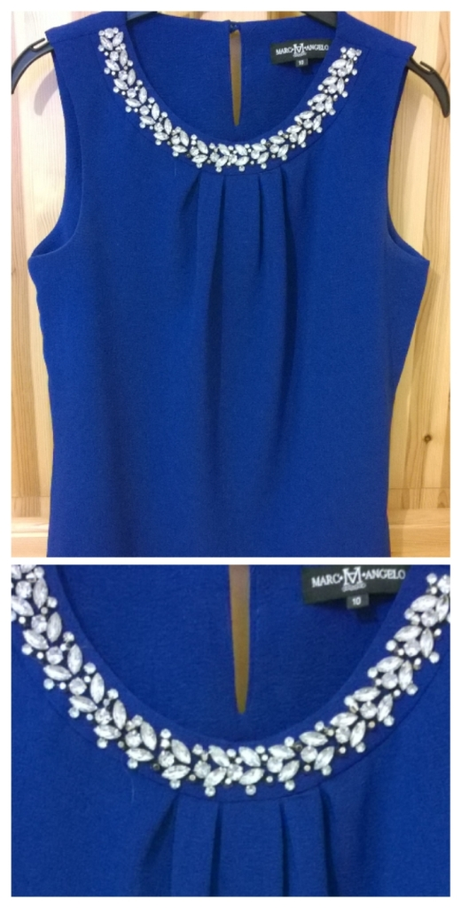 Marc Angelo Blue Jewel Neckline Top