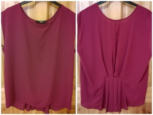 Oasis Hot Pink Pleated and Gathered Back Top