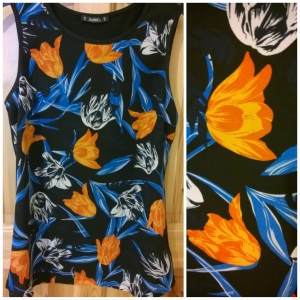 Dunnes Orange and Blue Print Top