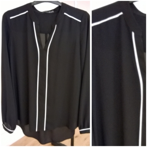 Penneys Black Blouse with Cream Piping